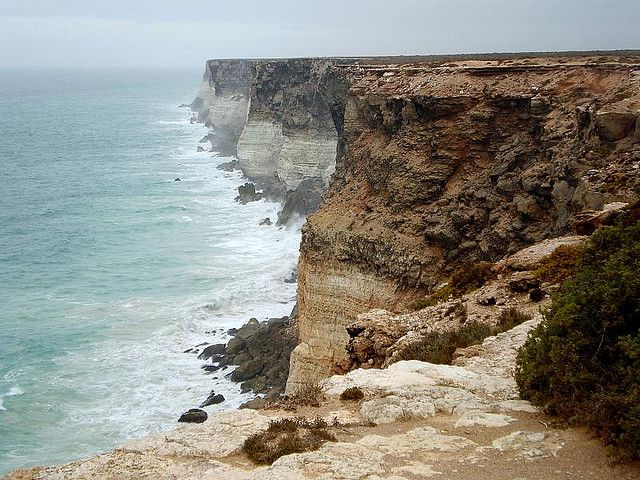 Bunda Cliffs - just one of the many dramatic sea cliffs of Australia's long coastline. An aboriginal name used for the Nullarbor coastal cliffs. The sea cliffs, which are 60 (200 ft) to 120 meters (400 ft) high, extend along the Great Australian Bight near its northern extremity, close to the Nullarbor Plain in a very sparsely settled area of Australia. Besides cliffs, the coast line of the Great Australian Bight is characterized by surfing beaches and rock platforms, ideal for…