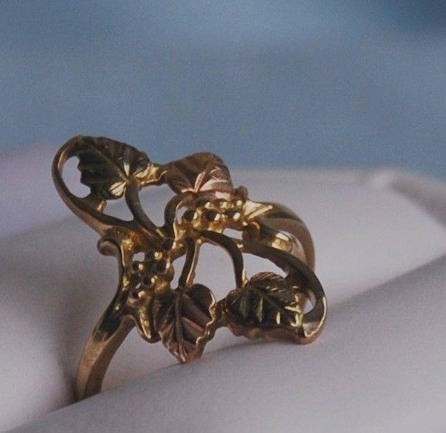 Gold Rings 10k Black Hills Gold Grape Leaf Vintage