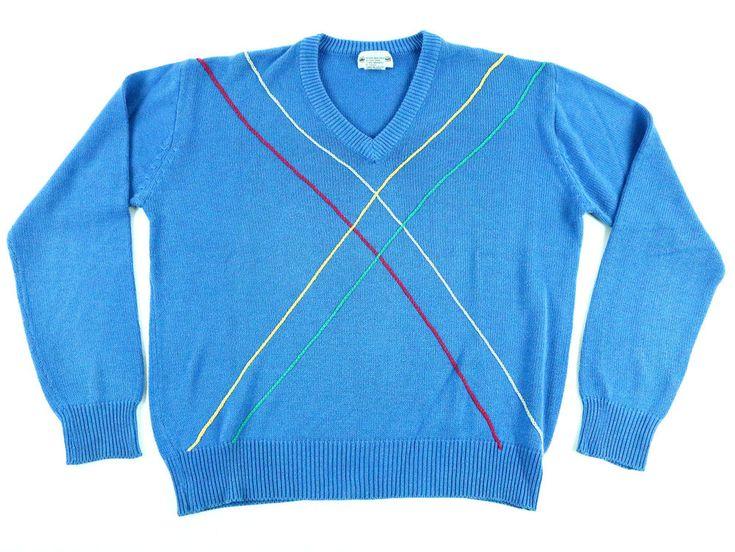 Jack Nicklaus Men's Sweater V-Neck Pullover Golf Blue Golden Bear Geometric - L #JackNicklaus #VNeck