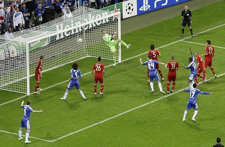 Didier Drogba's late header beats Manuel Nuer in the Bayern Munich goal to equalise for Chelsea agaisnt Bayern at their home ground in the 2012 final. Drobga went on to score the winning penalty to hand the Londoners their 1st European cup