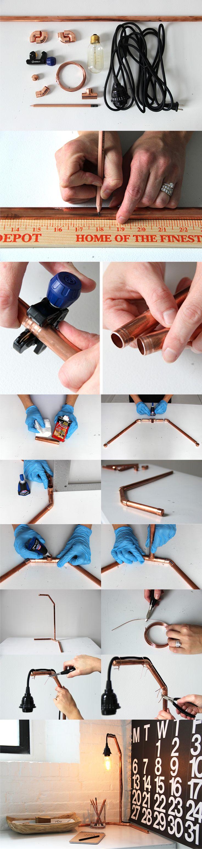 Lámpara de escritorio con tubos de cobre / Via http://verilymag.com/