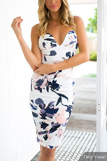Floral Print Sweetheart Cami Midi Dress from mobile - US$19.95 -YOINS