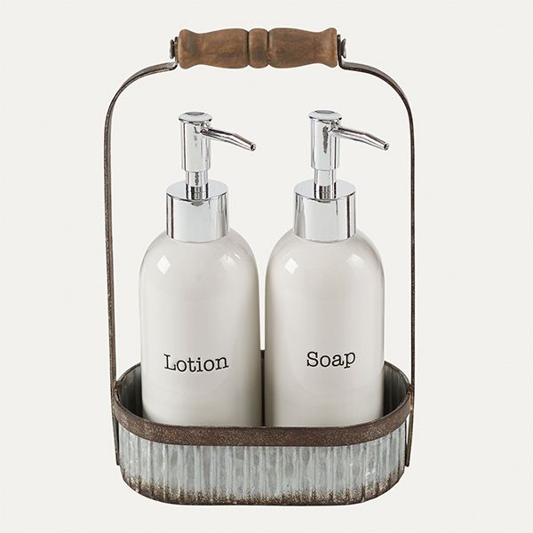 Galvanized Tin Caddy With Ceramic Lotion And Soap Pumps Set Ceramic Soap Dispenser Soap Pump Lotion Pumps