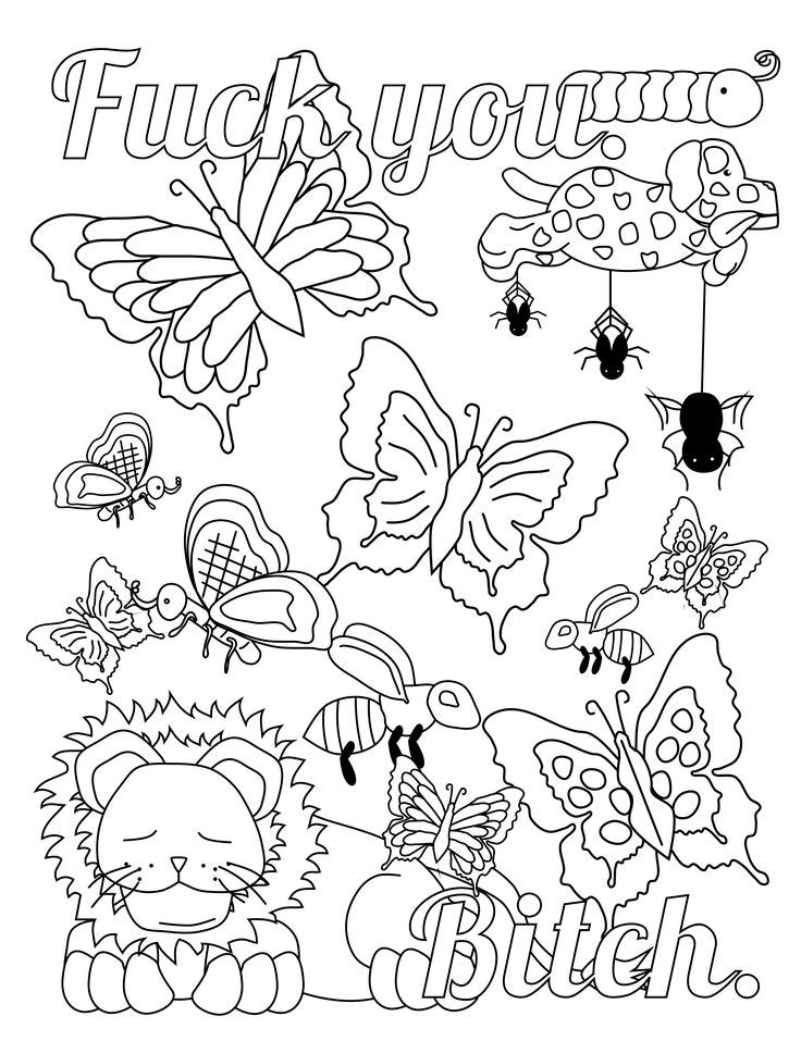 Fuck You. Bitch. - Swear Word Coloring Page - Adult Coloring Page - Swearstressaway.com - Comes from the swear word adult coloring book Screw You Asshole