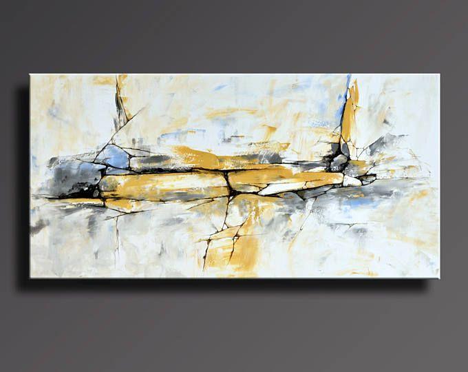 Decoración de la pared de 48 x 24 amarillo gris blanco negro azul pintura Original arte contemporáneo abstracto moderno arte de la lona de pintura abstracta - sin estirar