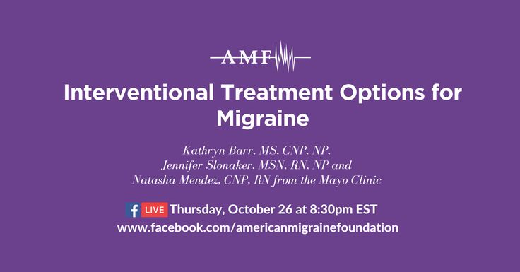 Interventional treatment for migraine or headache aims to stop or substantially reduce head and facial pain. Kathryn Barr, Jennifer Slonaker and Natasha Mendez from the Mayo Clinic will be discussing this topic and taking your questions right here this Thursday, October 26 at 8:30pm EST. Comment on this post with questions or issues you'd like them to address, or ask them live on Thursday.
