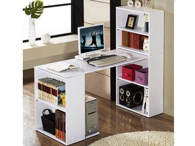 DIY Computer Desk with Bookcase - White