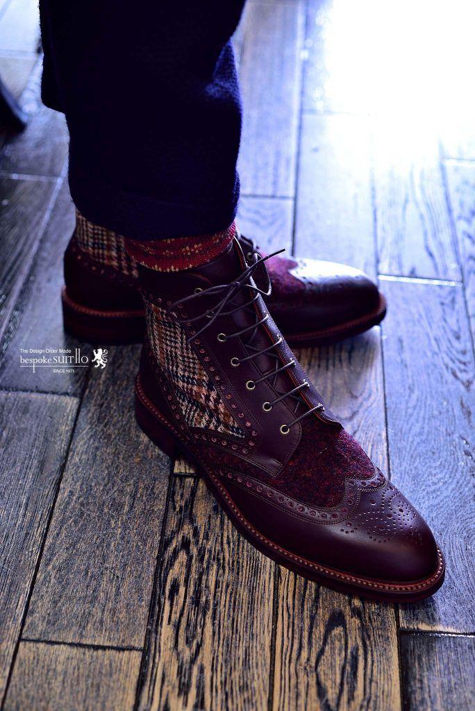 宮城興業の和創良靴(わそうりょうか)のオーダー靴、カントリーブーツのデザインでツイードとのコンビ靴。こんなイレギュラーな要望にも難なく応える宮城興業の技術力にいつも関心させられます,宮城興業,ES,カントリーブーツ,和創良靴,オーダー靴,革靴,誂え,紳士,オーダーメイド,福岡,黒崎,北九州,ビスポークスーツ110,bespokeSUIT110,bespokeSUITIIO,