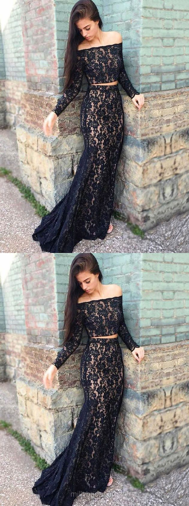 Lace Prom Dresses,Long Prom Dresses,Black Prom Dresses 2018,Trumpet/Mermaid Formal Prom Dresses Off-the-shoulder, Modest Evening Dresses Beading #blackdresses #eveningdresses