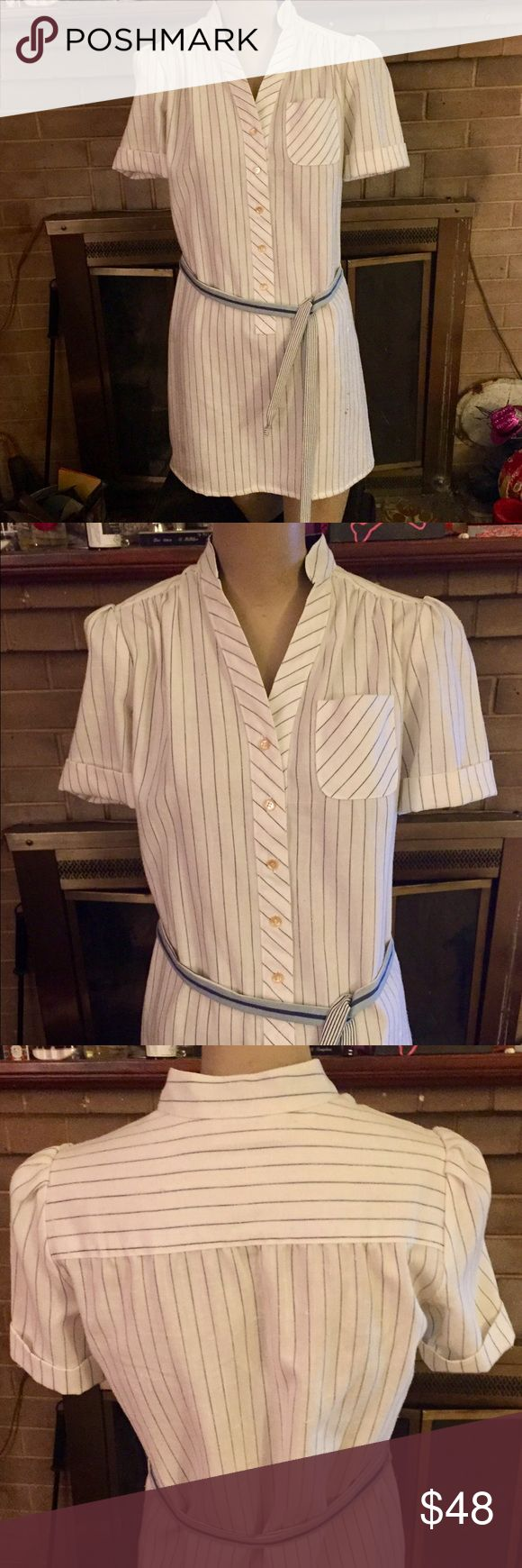 Vintage 80s baseball striped shirt dress w/belt Cutest shirt dress ever! This true vintage 80s dress is made for opening day or just a fun hello to springtime! White linen with blue pinstripes Nehru collar, half button down front with removable contrast striped belt. Size approx XS/S. Perfect condition; looks to have never been worn! Vintage Dresses