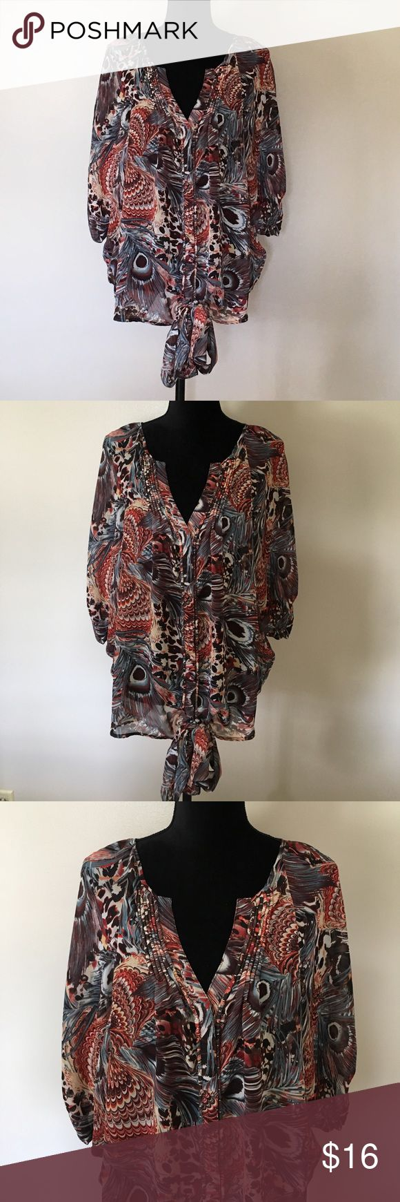 Jeans By Buffalo Print Boho Top Large Beautiful print and color combination.  Snap buttons.  It is sheer and has a cute tie.  Batwing type sleeves.  Gorgeous with dark denim capris. i jeans by Buffalo Tops Blouses