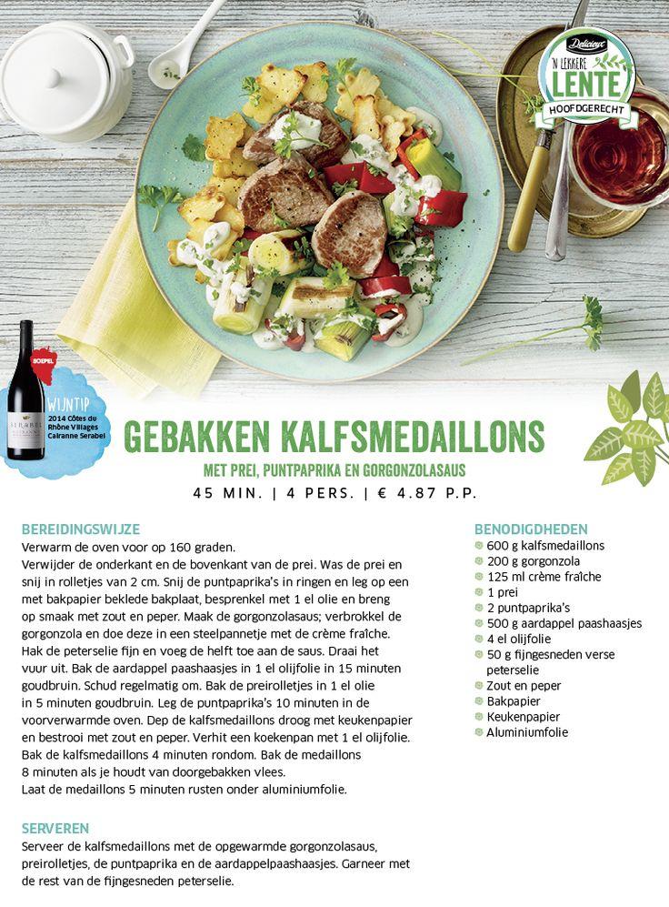 Gebakken kalfsmedaillons met prei, puntpaprika en gorgonzolasaus - Lidl Nederland