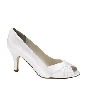 """http://www.sexyshoes.co.nz Style: Nona 835 Material: Satin  Colour: White  Dyable: Yes  Height: 2 1/2"""" Sizes: 6-12 $169"""