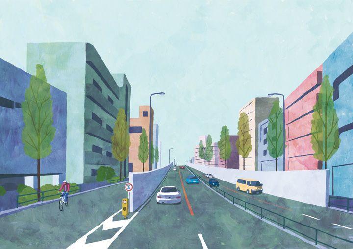 cross the overpass  #illustration #landscape