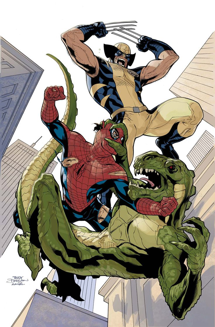 X-Men 10 Cover Colors WIP - Wolverine, Spider-Man and the Lee-zard by Terry Dodson and Rachel Dodson