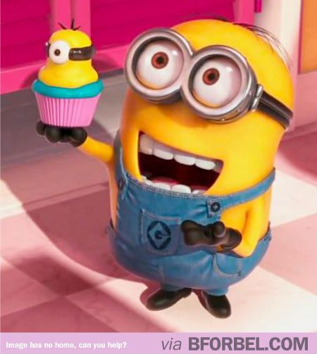 "Minion holding a minion cupcake, like ""I made it for you!"""