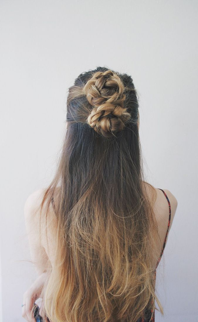 double braided bun with soft waves