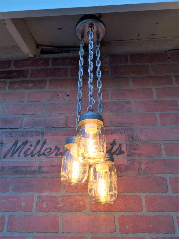 Pint Mason Jar ChandelierRustic Industrial Lighting Triple Pendant Light ByMillerLights