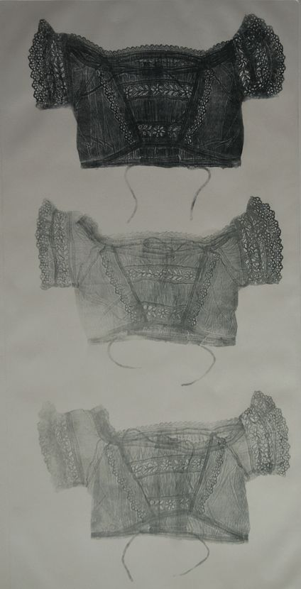 """Jayne McConnell ~ """"3 Bodices"""" Etching 52 x 92 cm via jaynemcconnell.com"""