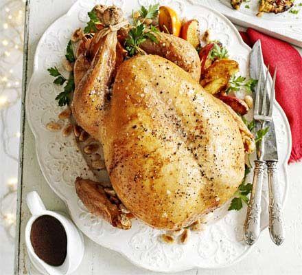 Scandinavian roast turkey with prune & juniper stuffing & caramelised apples