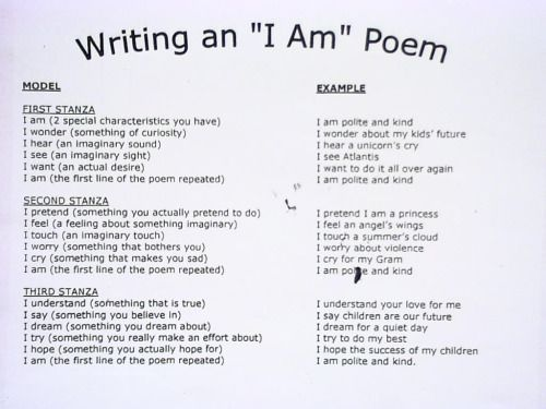 "traumasocialworker: "" I am a big advocate for the use of poetry therapy, and have found it to be a very useful tool for counseling. This particular poetic technique is called an ""I Am"" poem. The poem is a fill-in-the-blank exercise, which is great..."