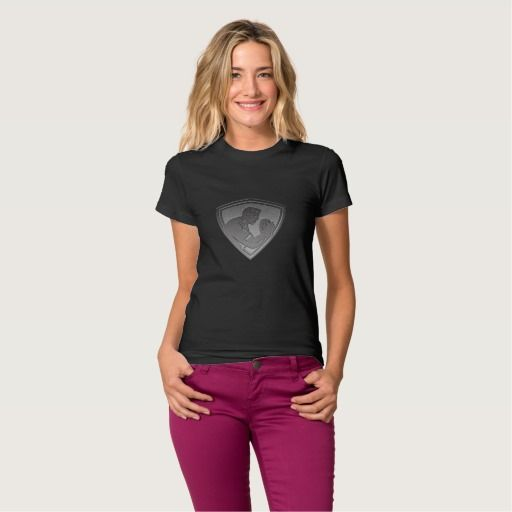 Rugby player shield metallic silver tshirts. Rugby World Cup women's t-shirt showing an illustration of a rugby player running passing the ball on isolated background done in metallic silver style set inside shield. #rwc #rwc2015 #rugbyworldcup