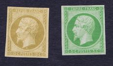 France 1854-62 - Napoleon 10 c.bistre-yellow (reprint from 1862) and 5c. green-yellow with signature and digital certificate by Calves - Yvert n°9e and 12a