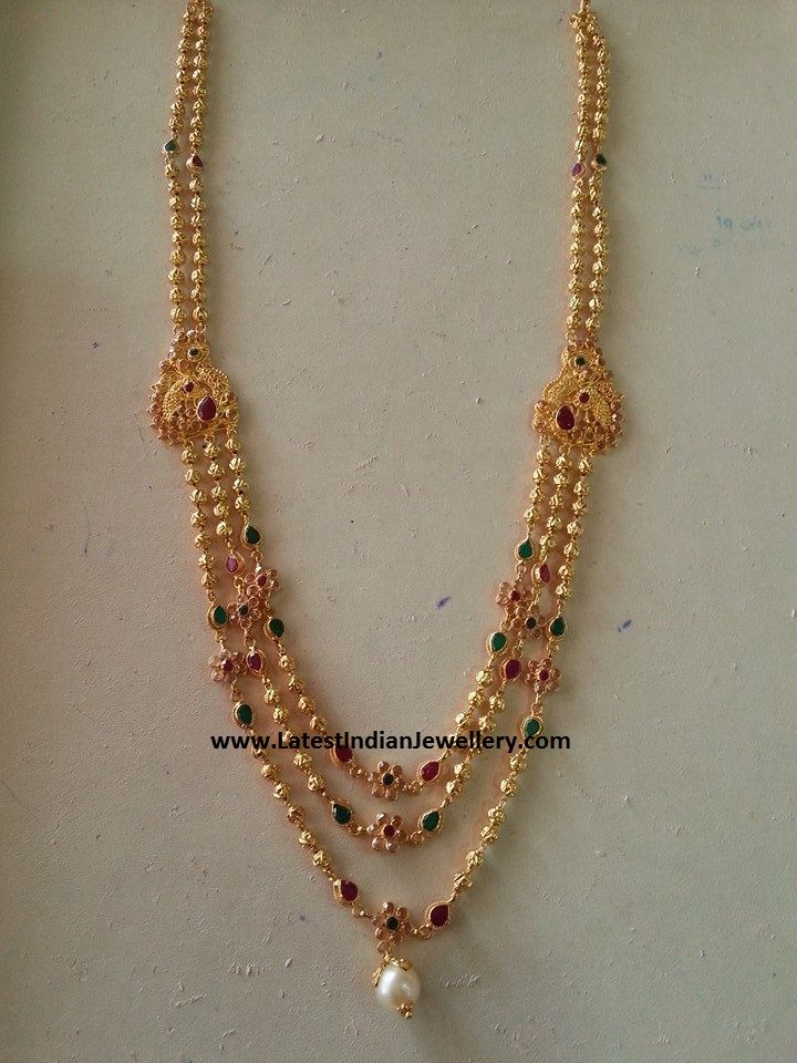 3 Step Lightweight Gundla Haram Gold Necklace Simple