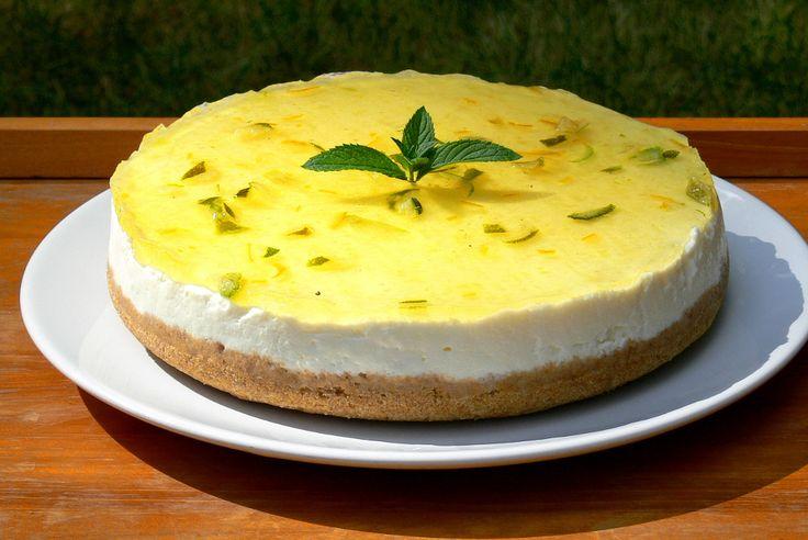 Limetkovo-citronový nepečený cheesecake