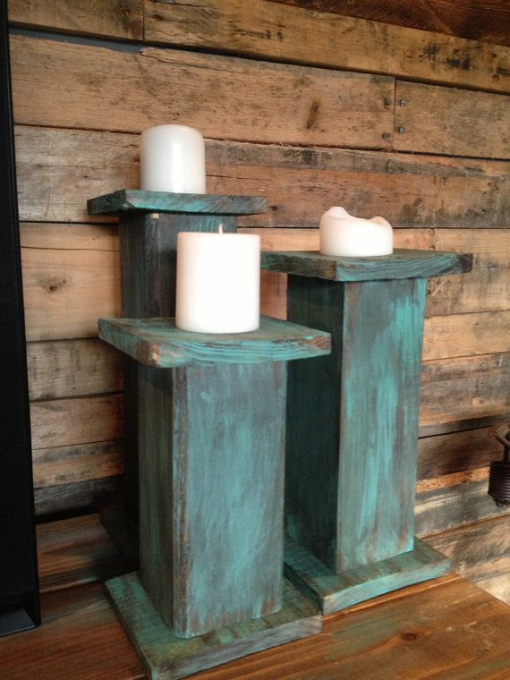 Wooden Pillar Candle Holders by RusticWoodHomeDesign on Etsy, $45.00