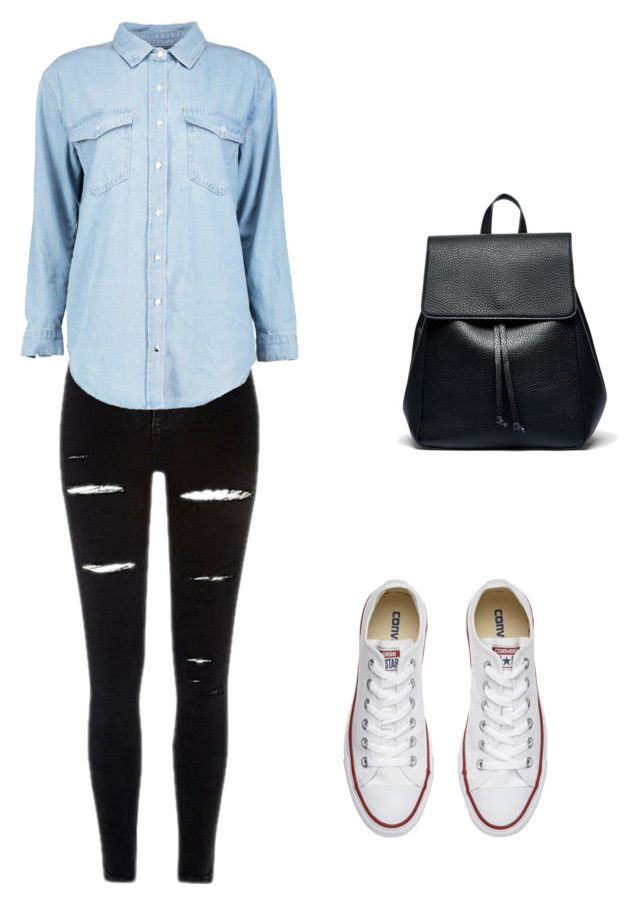 look de outono/escola 1 by sofiiaa-ferreira on Polyvore featuring moda, Boohoo, Converse and Sole Society