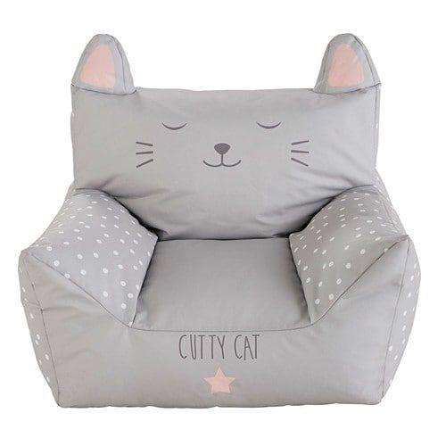 Fauteuil enfant en coton imprimé gris CATS