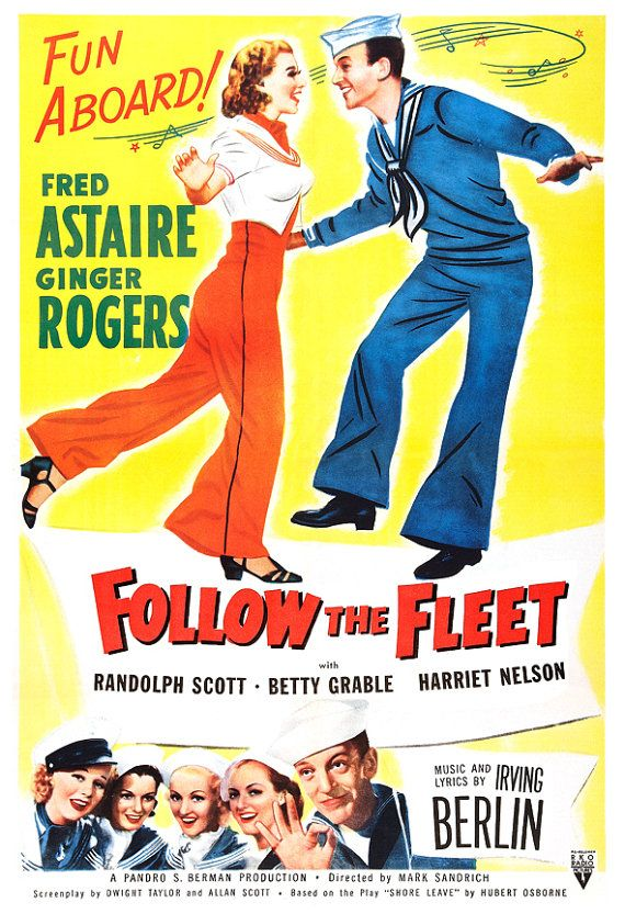 Fred Astaire Ginger Rogers - Follow The Fleet - Movie Musical Poster Print  13x19 - Vintage Movie Poster -