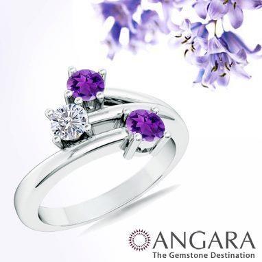 Angara Diamond Framed Cushion Amethyst Scroll Patterned Ring wC71wk