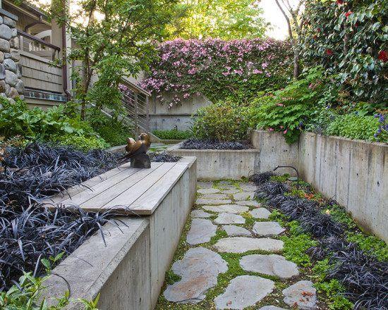 landscape design concrete retaining wall natural stone path