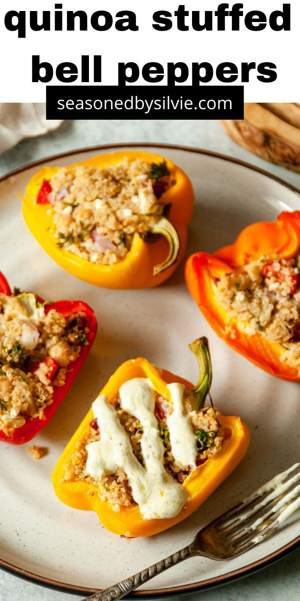 Mediterranean Vegetarian Stuffed Bell Peppers Seasoned By Silvie Recipe In 2020 Stuffed Peppers Stuffed Bell Peppers Gluten Free Recipes For Dinner