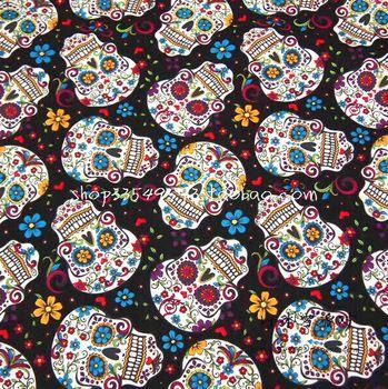 Kl-093 Multicolor Flower Skulls . Black-matrix Soft Plain Cotton Material 105meter 80g /meter
