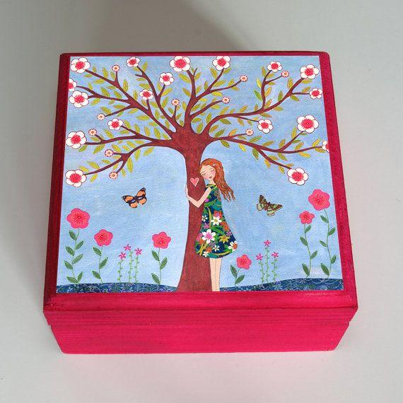 Folk Art Girl Jewelry Box Pink Trinket Box, Girl Gift Box