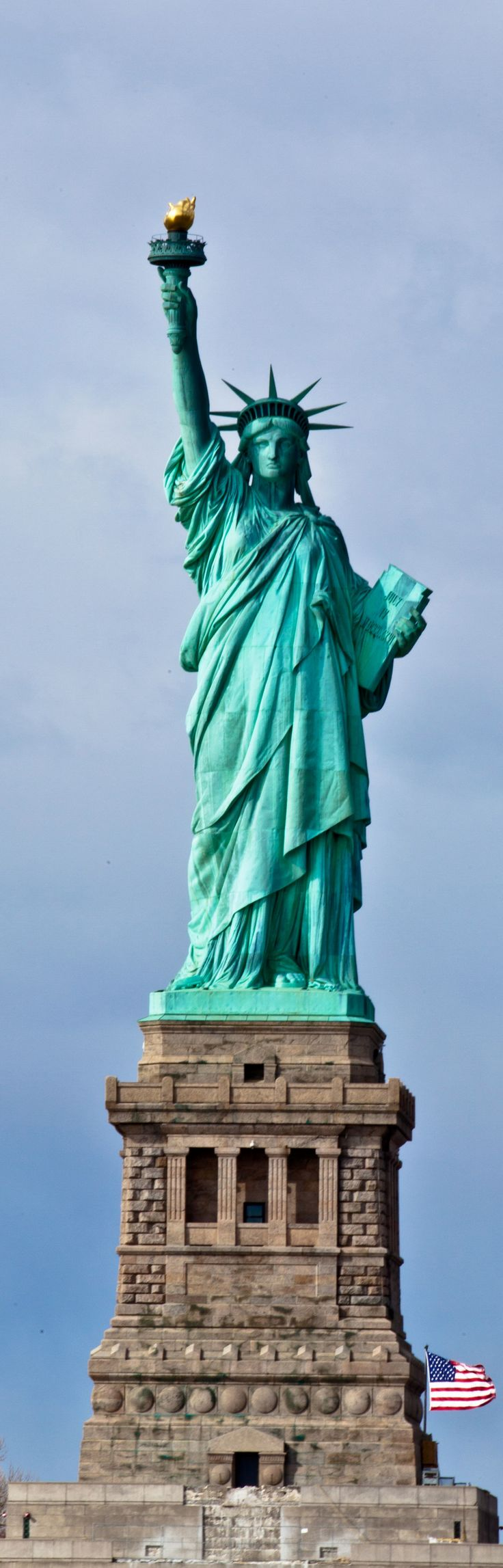 "The Statue of Liberty in New York City's Hudson River - ""Give Me Your Poor, Your Tired, Your Huddled Masses Yearning to Breathe Free"" - Long, Tall, Vertical Pins."