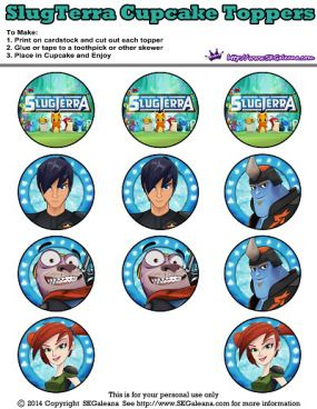 Slugterra printable Cupcake Toppers ~ Free Slugterra Party Printables, and Crafts | SKGaleana #slugterra