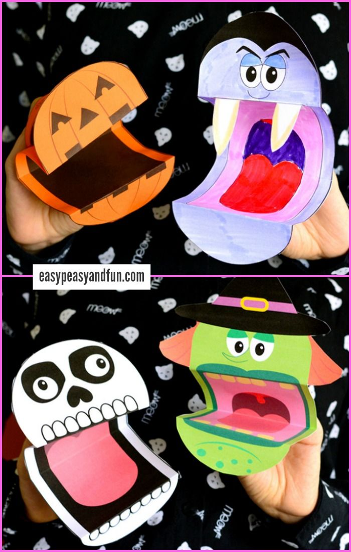 image relating to Halloween Craft Printable named Printable Halloween Puppets Halloween Crafts and