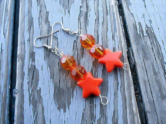 Venus Earrings, Sailor Venus Star Earrings, Sailor V Costume Jewelry, Venus Cosplay, Orange earrings, Anime accessory, Wire wrapped jewelry