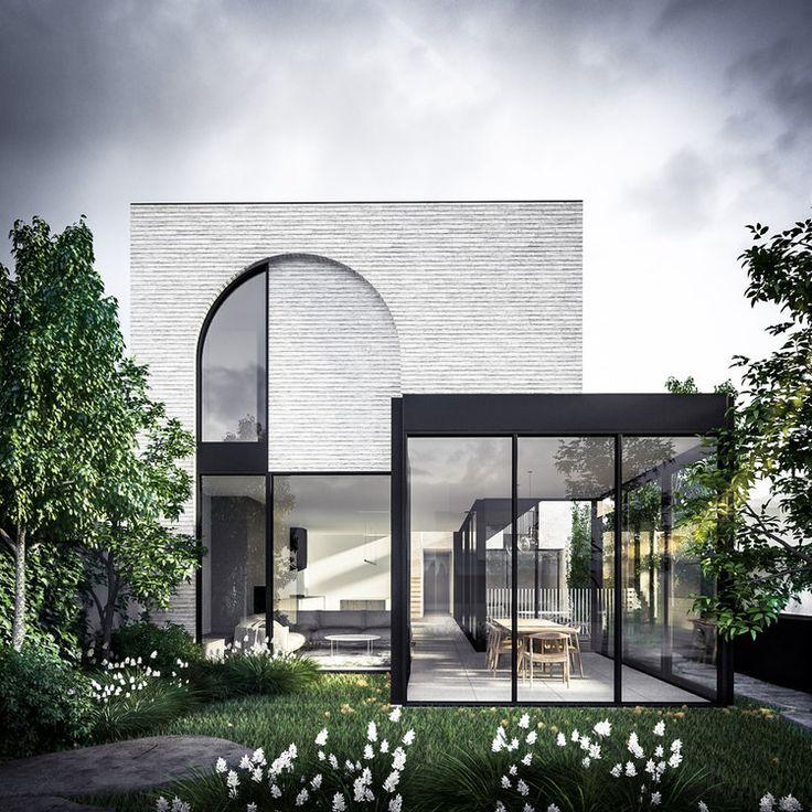 idée de pièce de verre; le sol en béton de la cuisine coulera dans la pièce et à l'extérieur …
