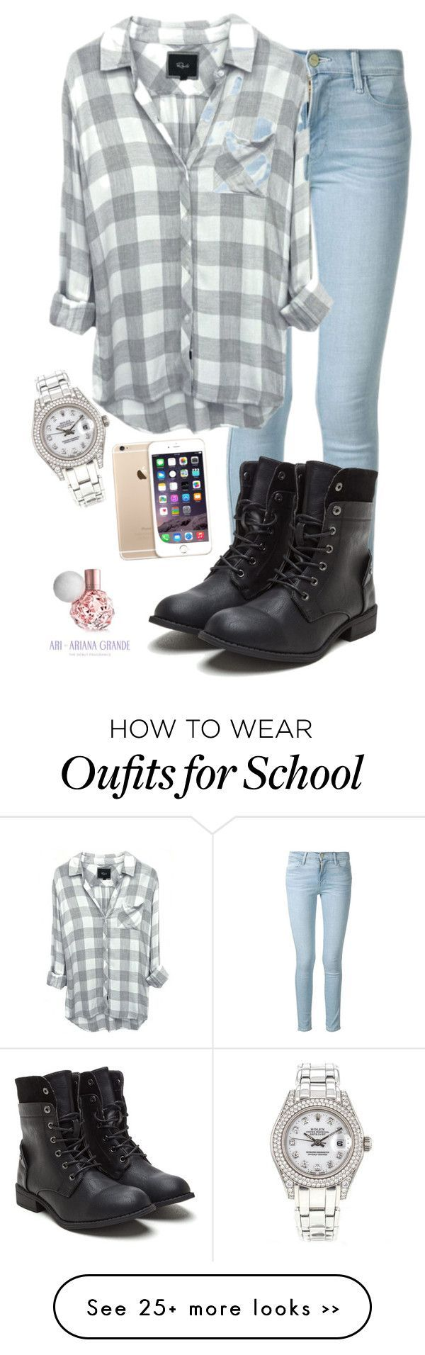 """Back to school"" by yazyandlena on Polyvore featuring Frame Denim and Rolex"