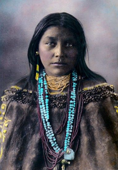 Hattie Tom, Chiricahua Apache 1898, in color from a black and white photo