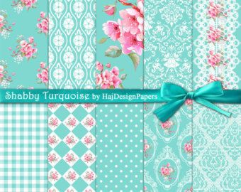 Shabby Turquoise - Digital Paper, Scrapbook Paper, Decoupage Paper, Shabby Chic Paper, Tiffany Blue, Digital Invitations, Wedding, Floral