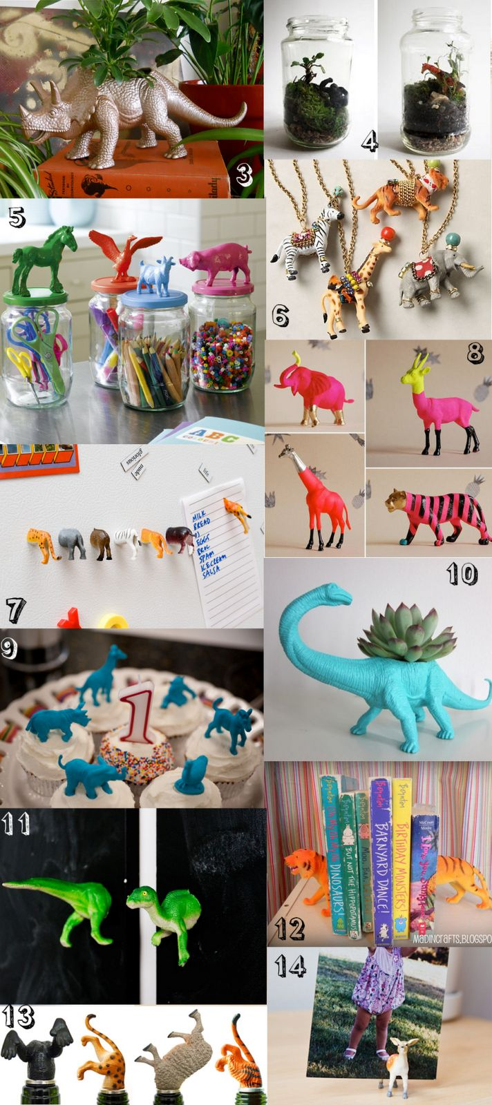 Sixteen fun ideas for repurposing your well-loved plastic animals.