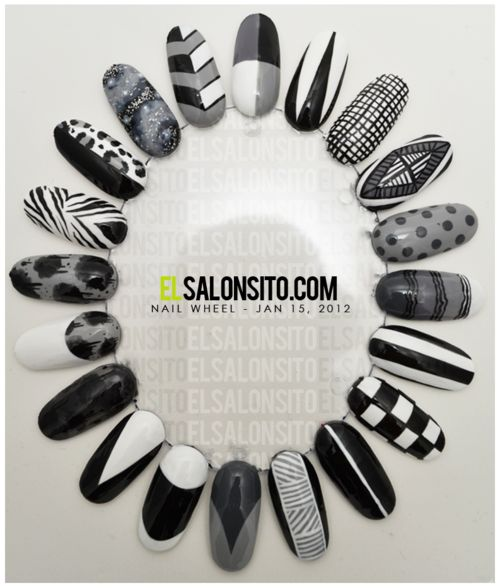 Especially loving the stripes and the black and white french + moon #nails #black #white