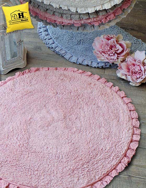 Tondo, con frill e rosa ... vuoi qualcosa di piu' per il tuo bagno shabby chic ???