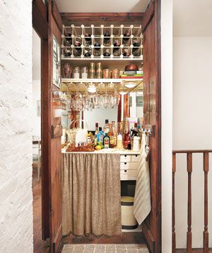 An extra linen or hall closet can easily be madeover into a fully-stocked bar.